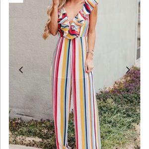 Multi Colored Striped Ruffled Jumpsuit